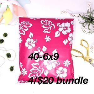 4/$20 Polymailers 40-6x9 Self Sealing Pink Aloha